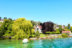 Beautiful view of the shore of Zurich lake  on a summer day. Stock Images