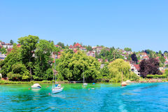 Beautiful view of the shore of Zurich lake  on a summer day. Royalty Free Stock Photo
