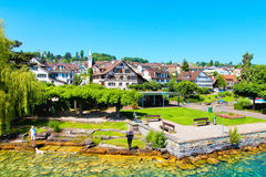 Beautiful view of the shore of Zurich lake  on a summer day. Royalty Free Stock Image