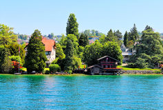 Beautiful view of the shore of Zurich lake  on a summer day. Stock Image