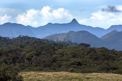 A beautiful view showing the spectacular mountain range seen from near Horton Plains National Park in Sri Lanka. Royalty Free Stock Images
