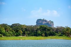 View of Sigiriya Rock or Lion Rock in Sri Lanka. Beautiful view of Sigiriya Rock or Lion Rock is an ancient fortress near Dambulla, Sri Lanka Stock Image