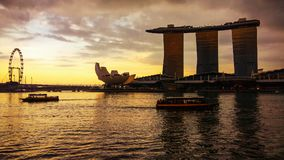 Marina Bay Sands in the evening stock images