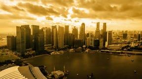 SINGAPORE-Jan 15, 2018: Singapore Skyline at sunset royalty free stock image