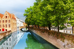 Beautiful view of Sint-Annarei canal during summer Royalty Free Stock Photography