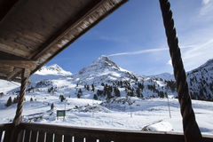 Beautiful view from a ski hut at the border crossing in Austria Royalty Free Stock Photo