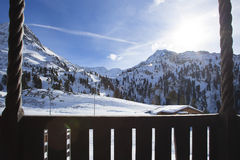 Beautiful view from a ski hut in snowy mountains Stock Photography