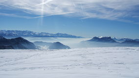 Beautiful view of sky mountain into french alpes Royalty Free Stock Photos