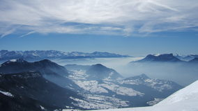 Beautiful view of sky mountain into french alpes stock photo