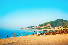 Beautiful View on Slavic beach in city Budva. MONTENEGRO royalty free stock photography