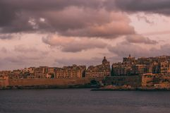 Beautiful view from Sliema to Valletta in the evening, Malta stock image