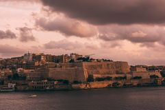 Beautiful view from Sliema to Valletta in the evening, Malta stock photos