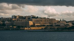 Beautiful view from Sliema to Valletta in the evening, Malta stock images