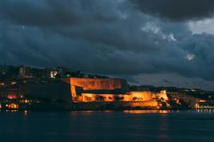 Beautiful view from Sliema to Valletta in the evening, Malta. Beautiful view from Sliema to Valletta in the night, Malta royalty free stock image