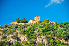 Beautiful view of a small mountain village Deia in Mallorca, Spa Stock Image