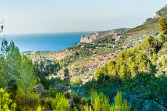 Beautiful view of a small mountain village Deia in Mallorca, Spa Stock Photos