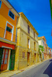 Beautiful view of small old steet in Port D Andratx town, located in Mallorca balearic islands, Spain Stock Images