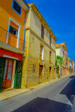 Beautiful view of small old steet in Port D Andratx town, located in Mallorca balearic islands, Spain.  Stock Photos