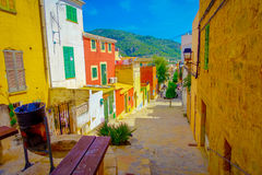 Beautiful view of small old steet in Port D Andratx town, located in Mallorca balearic islands, Spain.  Royalty Free Stock Photography