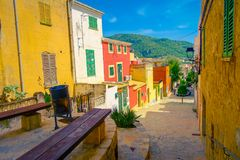 Beautiful view of small old steet in Port D Andratx town, located in Mallorca balearic islands, Spain Royalty Free Stock Image