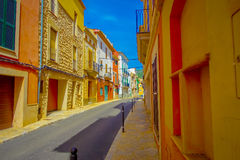 Beautiful view of small old steet in Port D Andratx town, located in Mallorca balearic islands, Spain.  Stock Photography