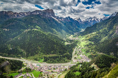 Beautiful view of small town in Dolomites Royalty Free Stock Photo