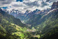 Beautiful view of small town in Dolomites in spring stock image