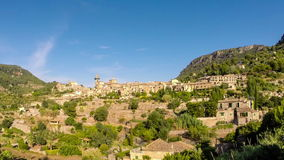 Beautiful view of the small town Valldemossa situated in picturesque mountains on Mallorca, Spain. stock video footage