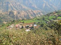 Beautiful view of a small village down from above a well known hill station stock photography