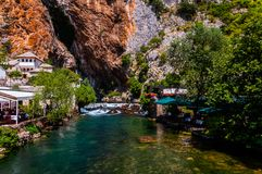 The spring of the river Buna. Beautiful view on the small waterfall of the Buna river in Blagaj royalty free stock photos