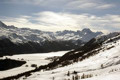 A beautiful view of the snow covered landscape and mountains in the alps swizterland Stock Images