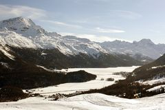A beautiful view of the snow covered landscape and mountains in the alps swizterland Royalty Free Stock Photos
