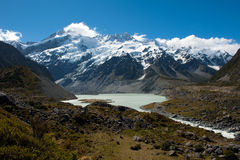 Beautiful view of snow mountain during walk to Mount Cook, South Island, New Zealand Royalty Free Stock Image