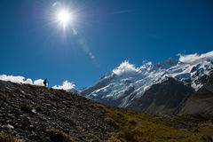 Beautiful view of snow mountain during walk to Mount Cook, South Island, New Zealand Stock Photography