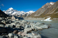 Beautiful view of snow mountain during walk to Mount Cook, South Island, New Zealand Royalty Free Stock Photos