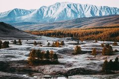Beautiful view of the snowy mountain peaks Stock Photos