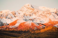 Beautiful view of the snowy mountain peaks Royalty Free Stock Photo