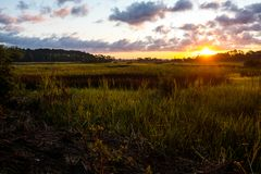 Landscape of south carolina low country marsh at sunrise with cloudy sky. Beautiful view of south carolina marsh at sunrise in charleston stock photography