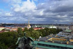 View on of St. Petersburg city from the colonnade of St. Isaac`s. Russia. Beautiful view on of St. Petersburg city from the colonnade of St. Isaac`s. Russia stock photos