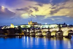Beautiful view of St. Vitus Cathedral, Charles Bridge and Mala Strana on the banks of the Vltava in Prague. Czech Republic royalty free stock photos