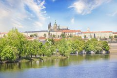 Beautiful view of St. Vitus Cathedral and Mala Strana on the banks of the Vltava in Prague, Czech Republic. On a sunny day stock images