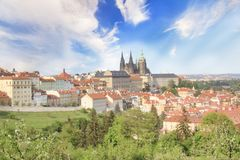 Beautiful view of St. Vitus Cathedral, Prague Castle and Mala Strana in Prague, Czech Republic. On a sunny day stock image