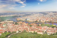 Beautiful view of St. Vitus Cathedral, Prague Castle and Mala Strana in Prague, Czech Republic. On a sunny day stock photography