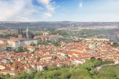 Beautiful view of St. Vitus Cathedral, Prague Castle and Mala Strana in Prague, Czech RepublicBeautiful view of Charles Bridge. Beautiful view of St. Vitus royalty free stock images