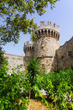 Beautiful view for stone castle turret in Rhodes city Stock Images
