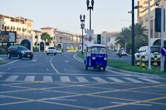 Beautiful view of a street in The Pearl Qatar royalty free stock images