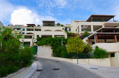 Beautiful view of street in popular resort town of Herceg Novi, Montenegro Stock Images