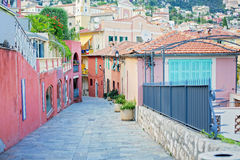 Beautiful view of streets in Villefranche sur Mer, Nice, Cote d Stock Photos