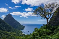 Nature view of the Pitons stock images