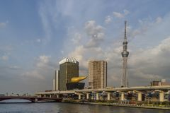 Beautiful view of the Sumida River in the Asakusa district of Tokyo, Japan. Asia Royalty Free Stock Photography